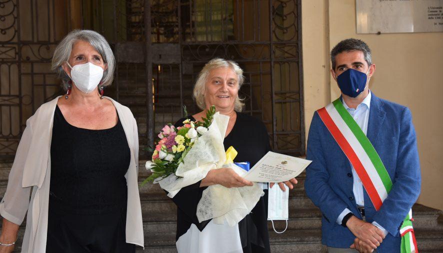 Marina Iemmi Presidente OPI Parma con il sindaco pizzarotti e l'assessore paci